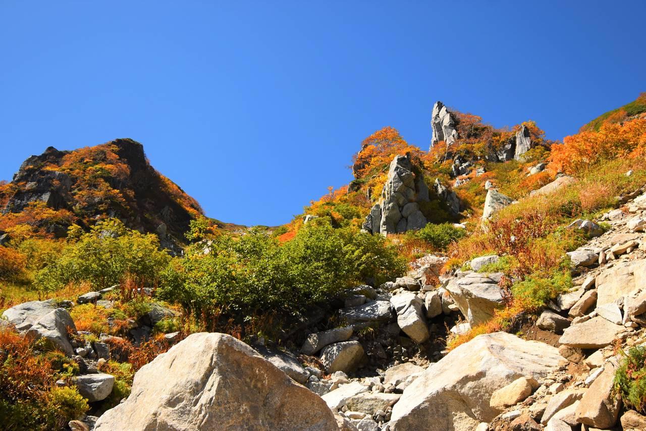 中央アルプス 紅葉と岩壁
