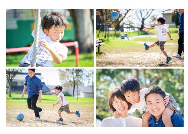 公園でサッカーをする男の子