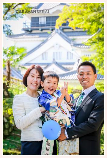 岡崎城・岡崎公園(愛知県岡崎市)で七五三前撮りのロケーション撮影 5歳の男の子