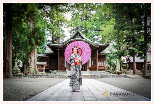 成人式前撮り写真のロケーション撮影 in 岐阜県下呂市/森水無八幡神社