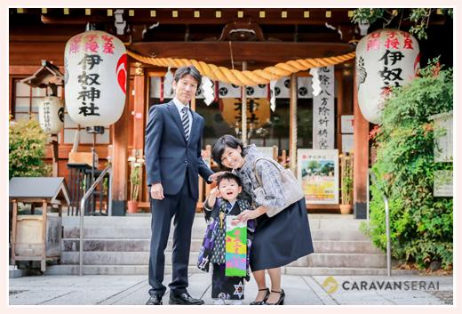 伊奴神社で七五三(名古屋市西区)♪3歳の男の子 家族写真