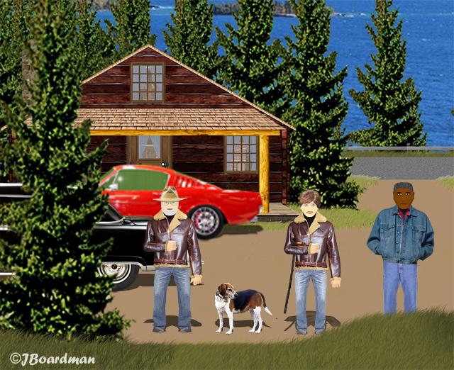 Our heroes me met Travis at his Cabin ©J. Boardman