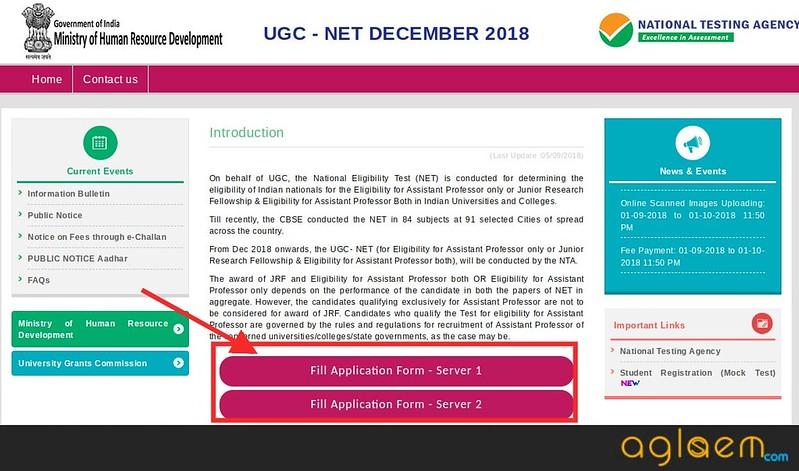 NTA NET website