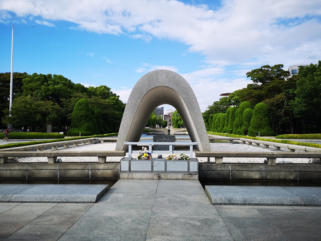 The Flame of Peace is framed by this cenotaph constructed in memory of the victims of Little Boy. Until today, remains of bodies can still be found in Hiroshima city when the ground is excavated.