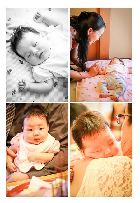 100日祝いで眠りに入る赤ちゃん
