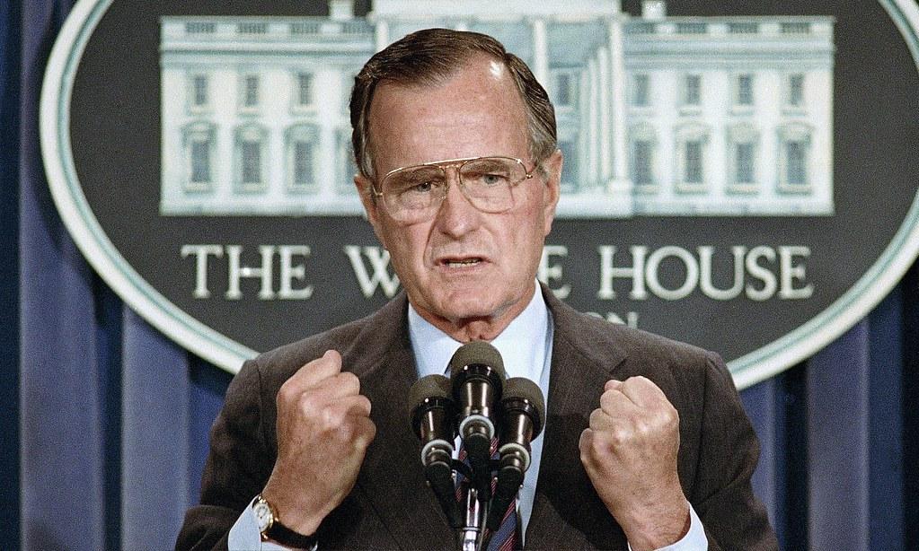 前美国总统老布希于上(11)月30日去世。(图片来源:Marcy Nighswander/AP)