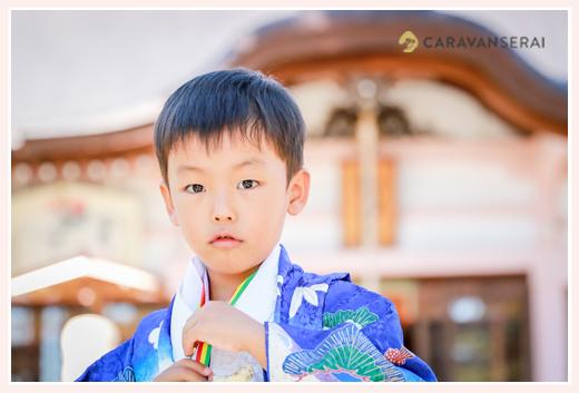 龍城神社・岡崎公園・菅生神社・乙川(愛知県岡崎市)で七五三前撮りのロケーション撮影 5歳の男の子