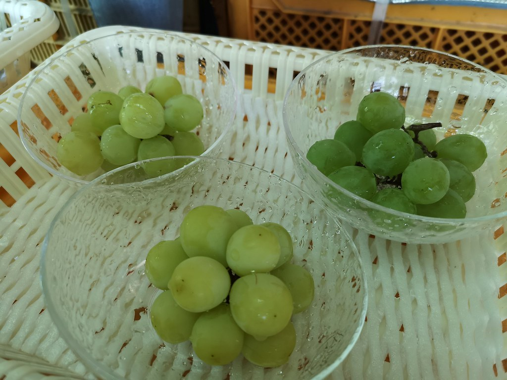 Clockwise from top left: Seto Giants, Muscat grapes, Shine Muscat grapes.