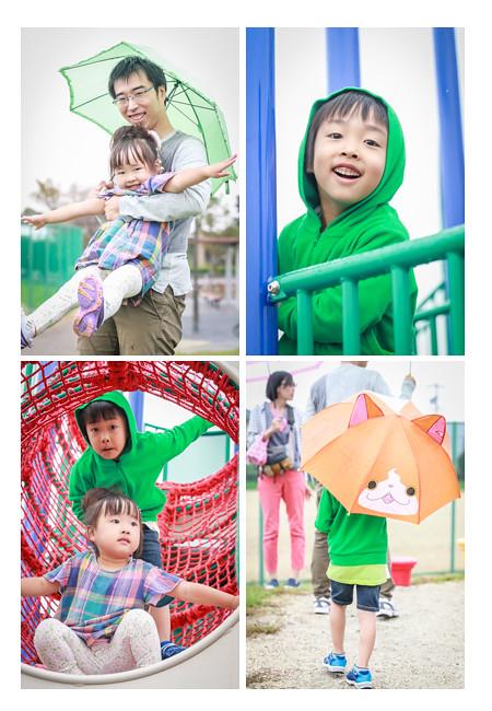 雨の中公園で元気にあそぶ子供