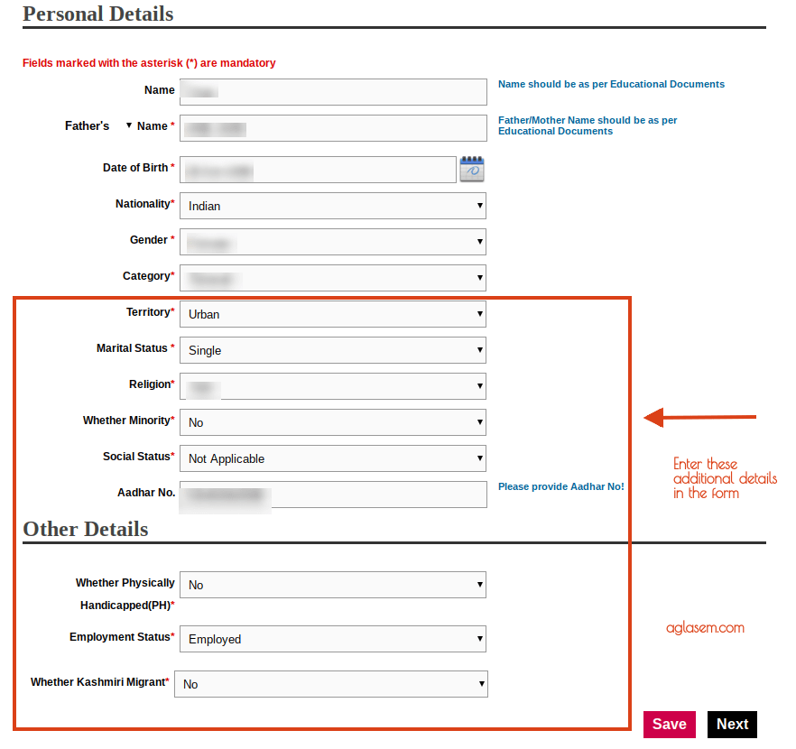 IGNOU OPENMAT 2019 Form Personal Details