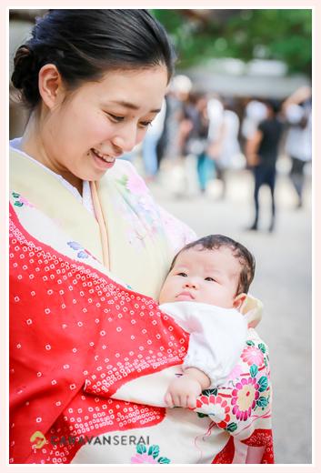 初秋のお宮参り 名古屋の神社 ママもお着物