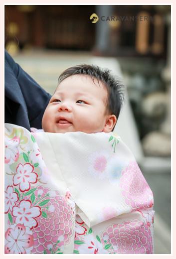 お宮参り 塩竈神社(名古屋市天白区)白いお着物