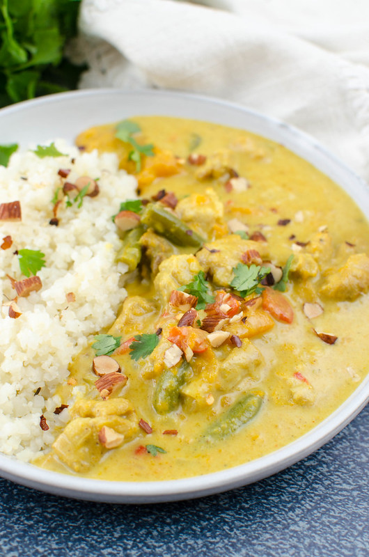 Pressure Cooker Paleo Sweet Potato Chicken Curry - chicken thighs, sweet potatoes, green beans, and peppers in a delicious coconut curry sauce. Ready in less than 30 minutes! Great for meal prep!