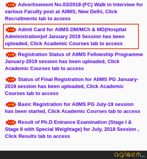 AIIMS DM/MCh/MD(Hospital Administration) Admit Card Released for