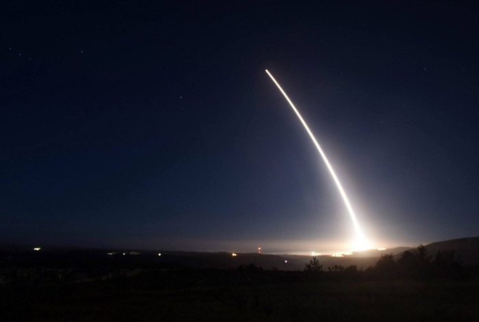 An unarmed Minuteman III intercontinental ballistic missile launches during an operational test