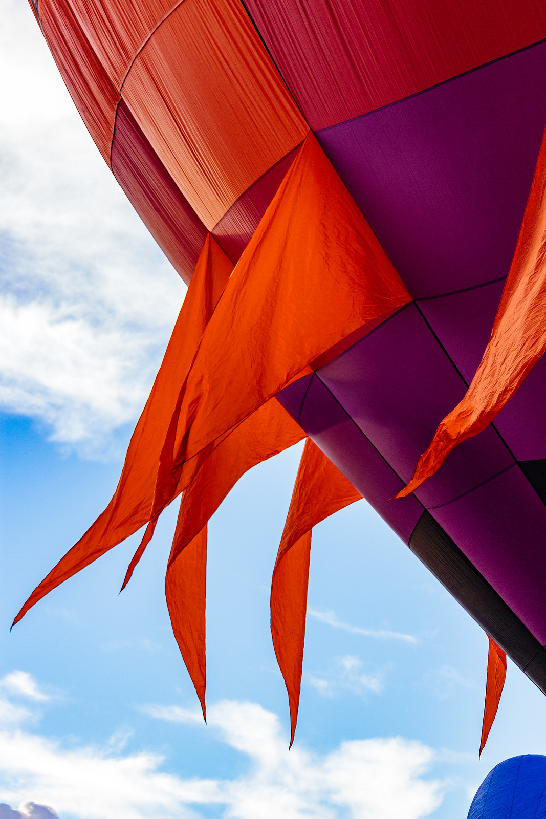 Red-and-purple balloon with fins at the Albuquerque International Balloon Fiesta