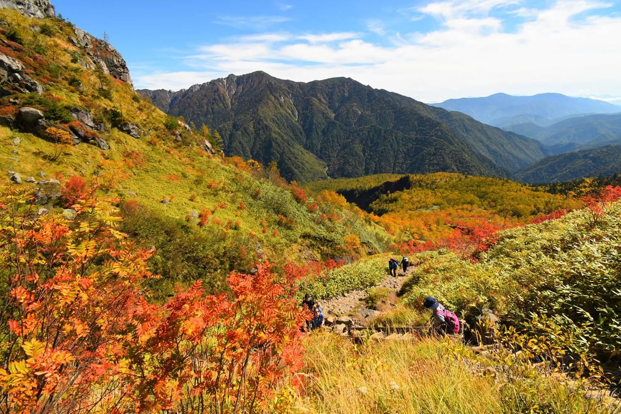焼岳の紅葉と霞沢岳