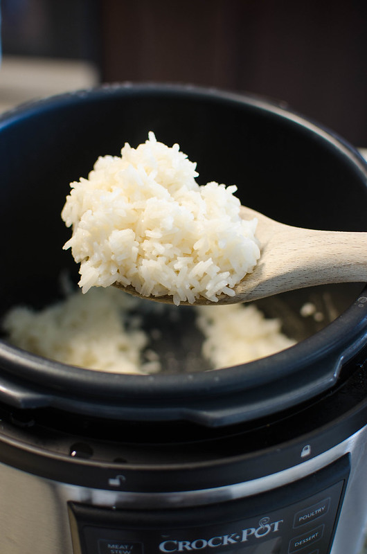 Rice cooked in the pressure cooker