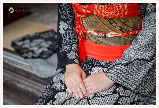 成人式前撮り写真のロケーション撮影 着物と帯