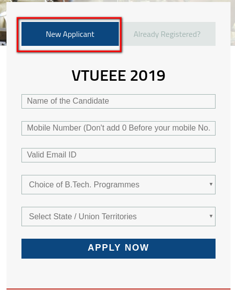 VTUEEE 2019 Application Form