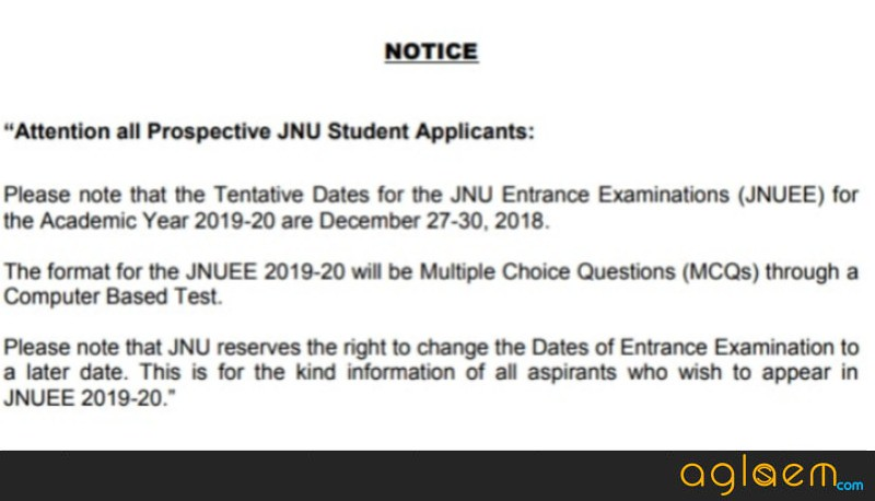 JNUEE 2019 Exam date announced