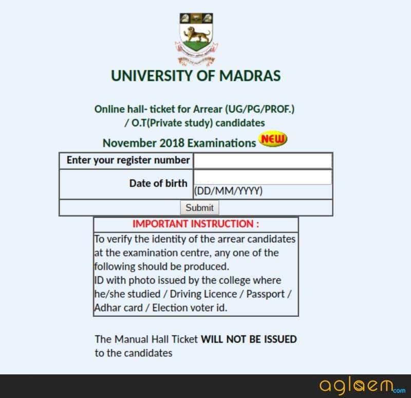 Madras-University-Arrear-Hall-Ticket-2018
