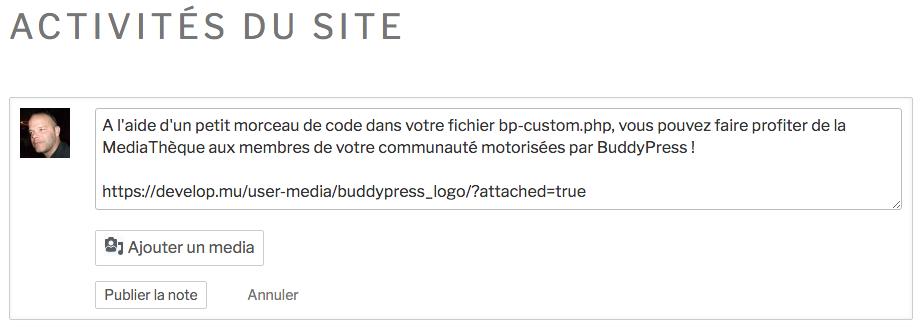 MediaThèque et BuddyPress