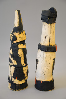 Black, White, and Red diptych 1 by Mary Mackey
