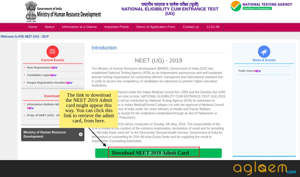 NEET 2019 ADMIT CARDS OVER NTA WEBSITE