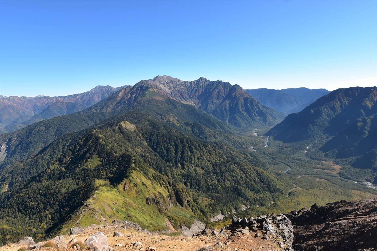 北アルプス焼岳山頂からの槍ヶ岳~穂高岳