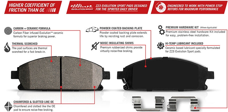 Low Dust Power Stop Z23 Evolution Front Brake Pads Fits