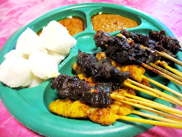 ARS beef & chicken satay with ketupat
