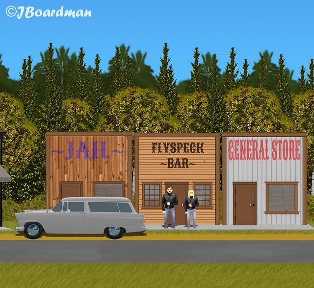 Chris & Wyatt outside the Flyspeck Bar ©J. Boardman
