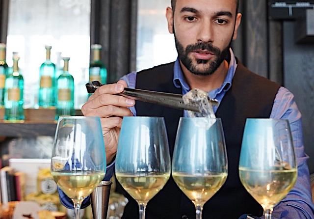 Andrea prepares his winning cocktail, The Stolen Bike
