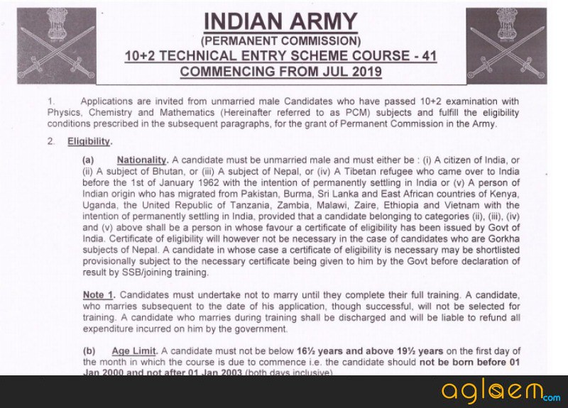 Officila notification for Indian Army TES 41