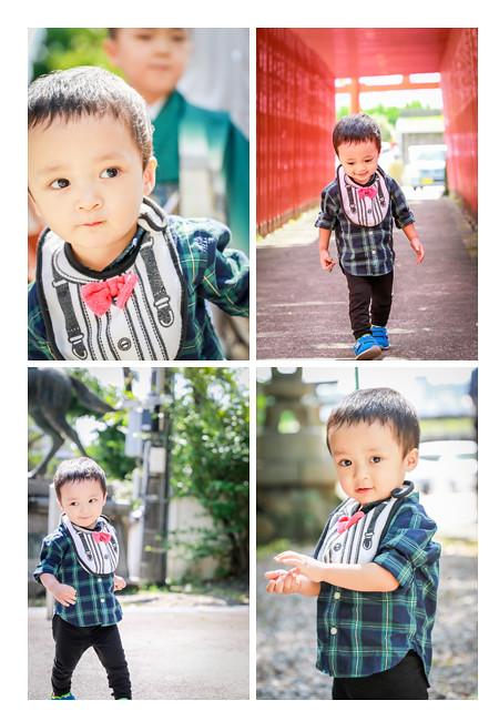 神社の境内で遊ぶ2歳の男の子