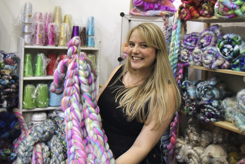 Louise McDonald of Spin City at The Knitting & Stitching Show