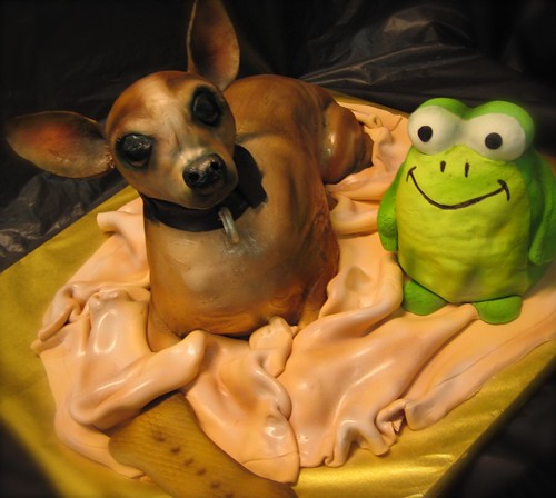 chihuahua  with toy cake | by debbiedoescakes