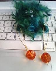 Moxie's monster and my earrings | by susanstars