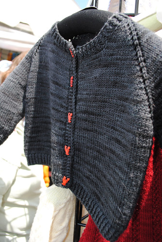 Charcoal Cardigan with Lobster Buttons