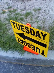 """TUESDAY"" production sign 