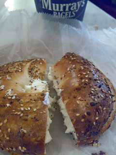 Everything bagel with cream cheese in Murray's Bagel | by skinnydiver