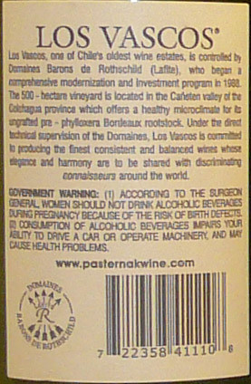 Los Vascos 2005 Cabernet (Back) | by 2 Guys Uncorked