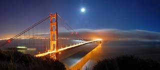 Golden Gate & Full Moon, Panorama | by Tyler Westcott
