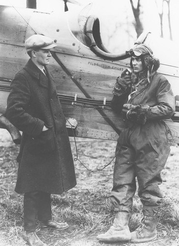 Photograph of airmail pilot Jack Knight and unidentified individual | by Smithsonian Institution