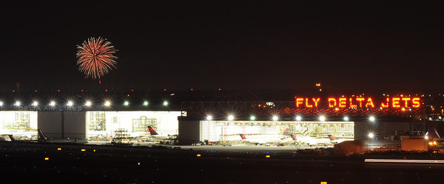 Fireworks over Delta's Hangars at Hartsfield-Jackson Airport