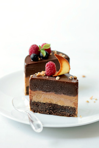 Chocolate Torte, Caramel Ice Cream and Chocolate Sorbet | by tartelette