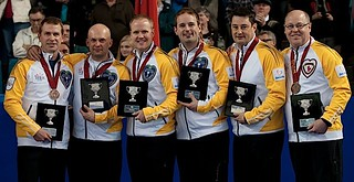 Kamloops B.C.Mar9_2014.Tim Hortons Brier.Bronze Medalist.Manitoba(L-R)skip Jeff Stoughton,third Jon Mead,second Mark Nichols,lead Reid Carruthers,Alt Garth Smith,coach Rob Meakin.CCA/michael burns photo | by seasonofchampions