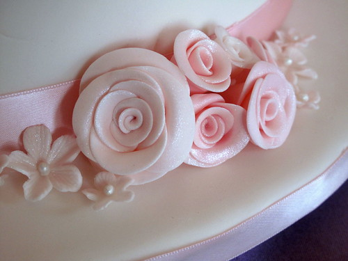Pink Roses Wedding Cake- Detail on bottom tier | by creativecupcakes