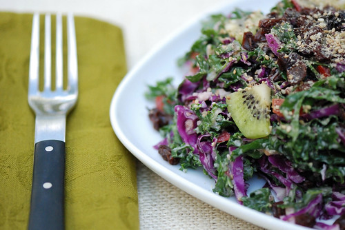 Fruited Kale and Cabbage Salad closer | by swellvegan